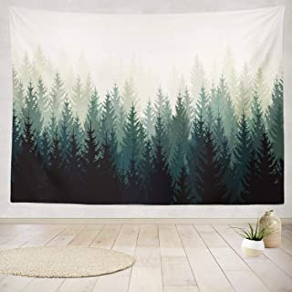 ONELZ Decor Collection, Landscape with Silhouettes Green Trees Evergreen Tree Forest Landscape Bedroom Living Room Dorm Wall Hanging Tapestry 80