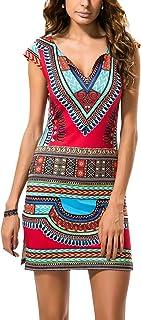 LaoZan damska boho etniczna tunika hippie sukienka rękaw sundress plaża wakacje sukienka