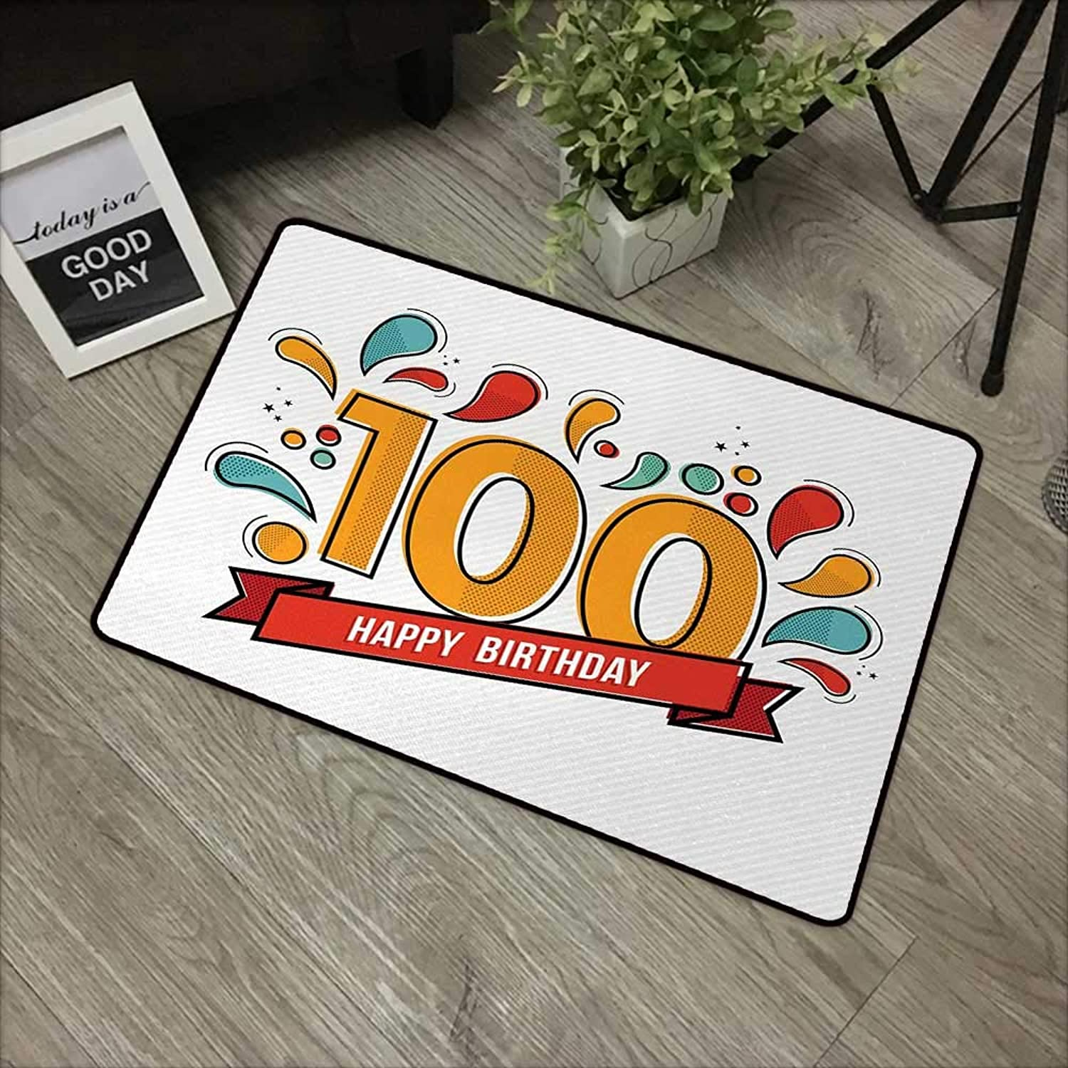 Floor mat W35 x L59 INCH 100th Birthday,Grannies Lived for Centuries 100 Birthday Party Growing Old Digital Image,Multicolor with Non-Slip Backing Door Mat Carpet