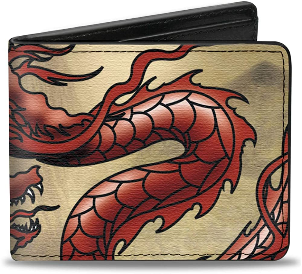 Buckle-Down PU Bifold Wallet - Dragons Tan