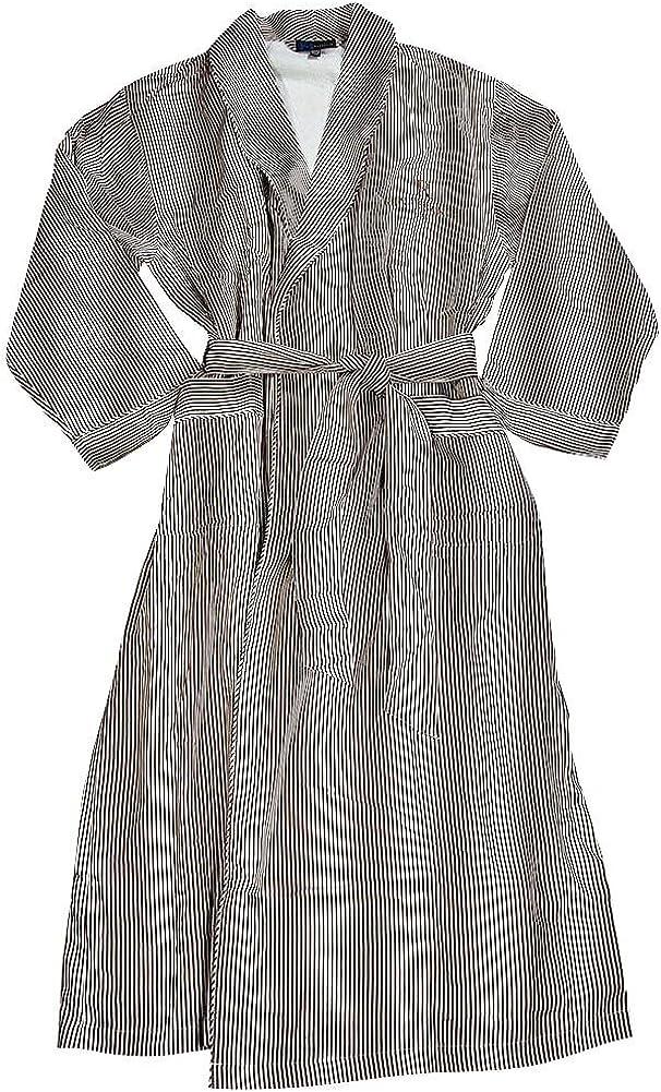 Majestic International - Mens Long Sleeve Striped Spa Robe