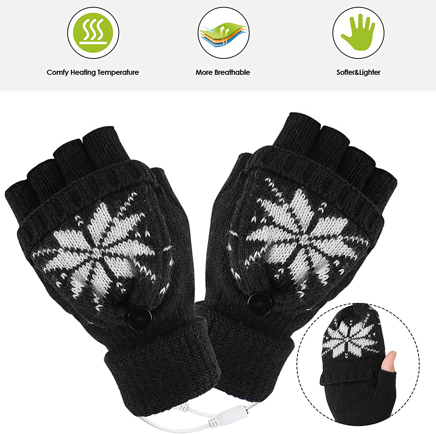 Xinapy Unisex USB Heated Gloves, Winter Warm Full& Half Fingers Warmer Knitted Laptop Gloves Mitten with Finger Cover for Men and Women