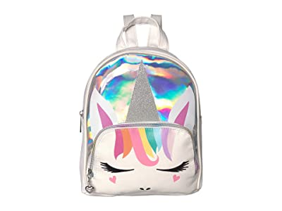 OMG! Accessories Pastel Rainbow Hair Unicorn with Glitter Face Mini Backpack (White) Backpack Bags