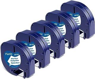 Aken Ruban pour Étiqueteuse compatible pour Dymo LetraTag Ruban Plastique 12mm x 4m Noir sur Blanc, Recharge Dymo Ruban po...
