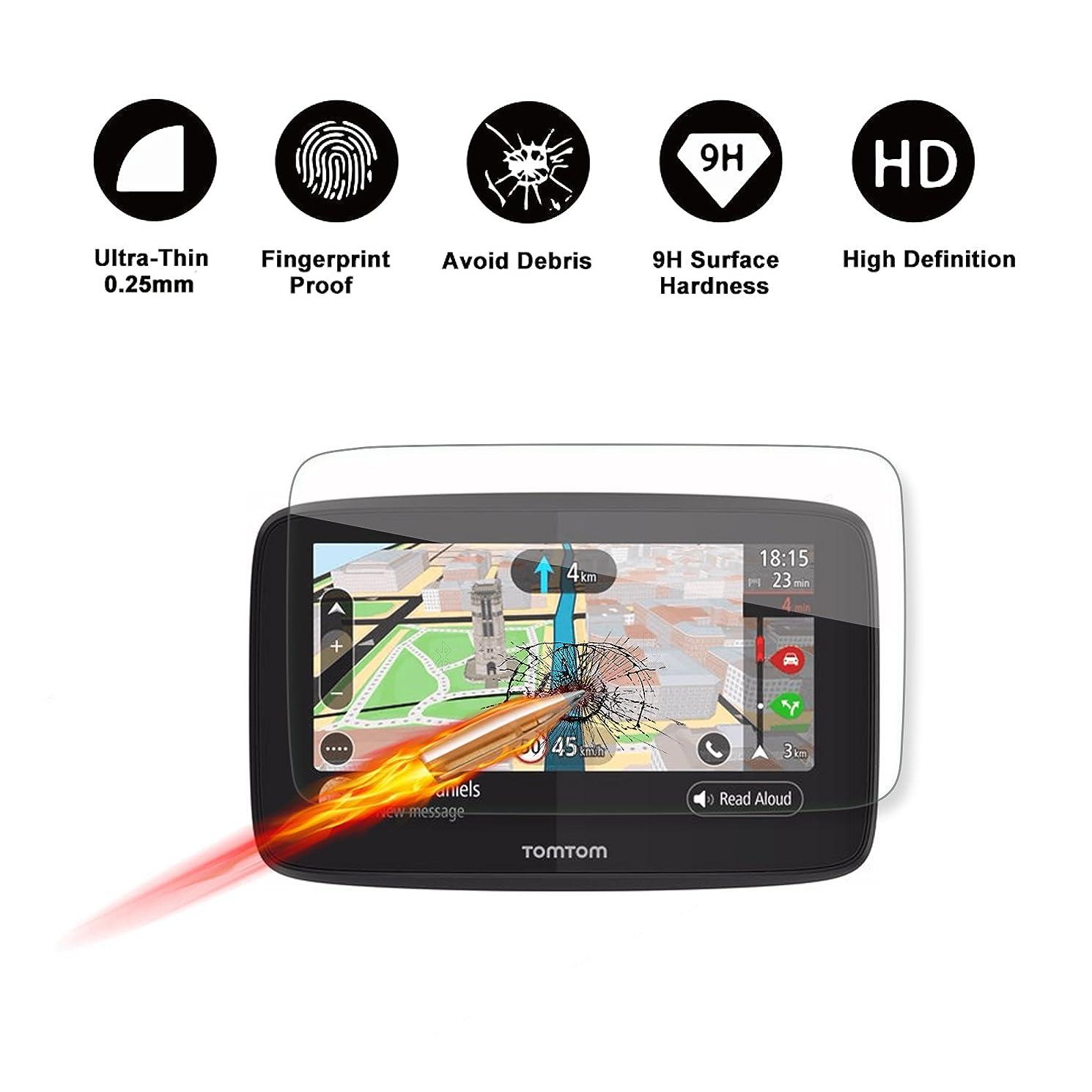緊張降雨スタウトTomTom GO 520 5200 GPS 5インチディスプレイナビゲーションスクリーンプロテクター、R RUIYA HDクリア強化ガラススクリーンガードシールド 傷防止 ウルトラHD 極度の透明度