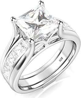 Metal Factory Sterling Silver 2Pcs 925 CZ Cubic Zirconia Engagement Wedding Band Ring Insert Set