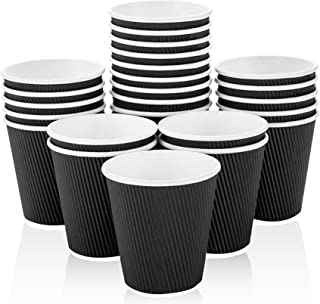 [50 Cups] 8 oz. Black Disposable Coffee Cups - Triple Wall Ripple Hot Paper Cups for Tea, Drinks To-Go