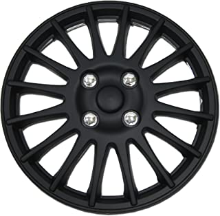 Tuningpros WC1P-16-611-B - Pack of 1 Hubcap (1 Piece) - 16-Inches Style 611 Snap-On (Pop-On) Type Matte Black Wheel Covers Hub-caps
