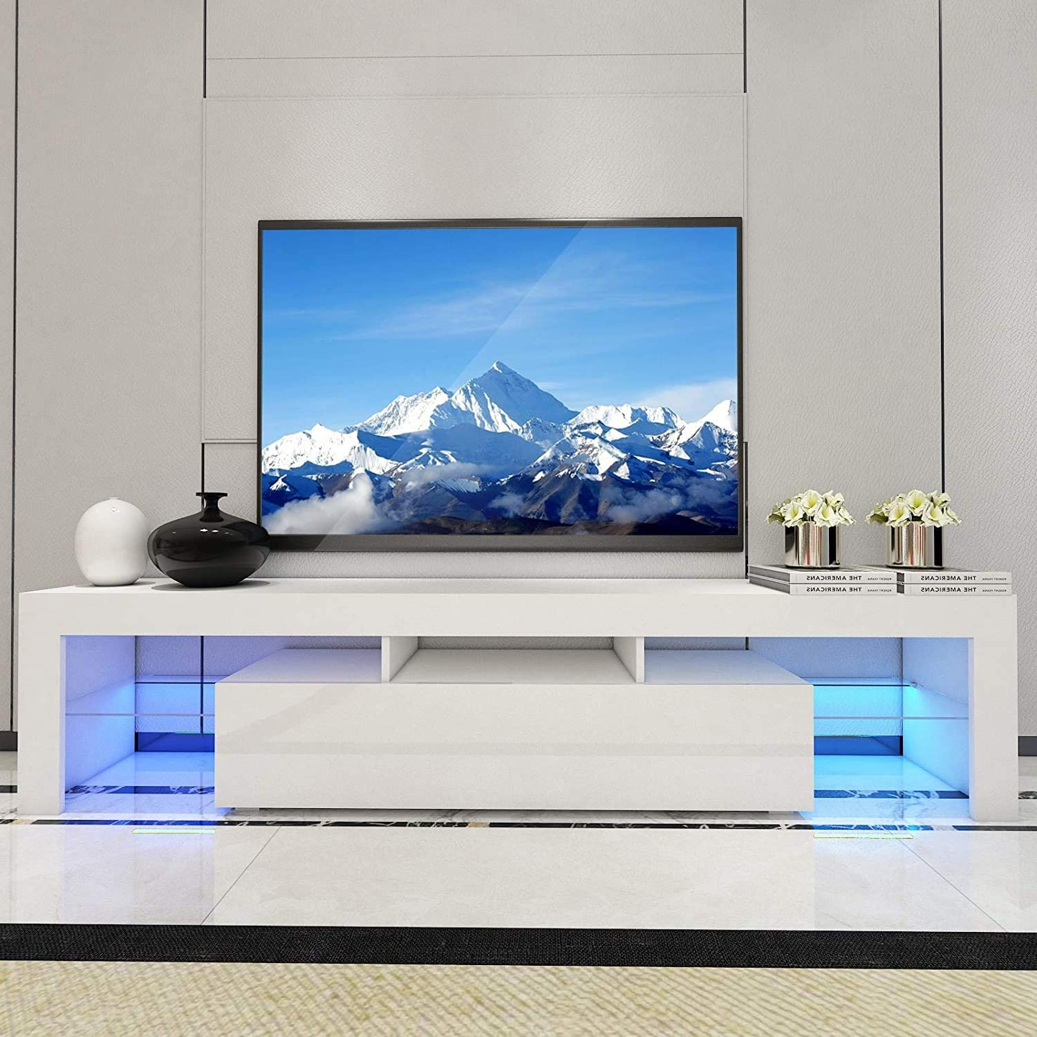 MTFY TV Stand with LED Modern Rapid rise Lights Cabinet 52'' Storag 2021 model