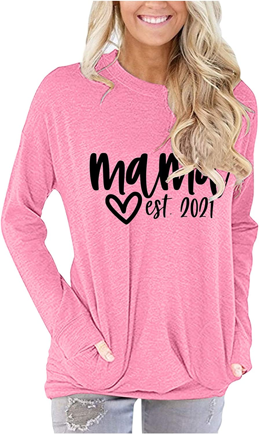 iQKA Women's Graphic Sweatshirt Crew Neck Long Sleeve Tops Casual Loose Lightweight Pullover Blouse with Pocket