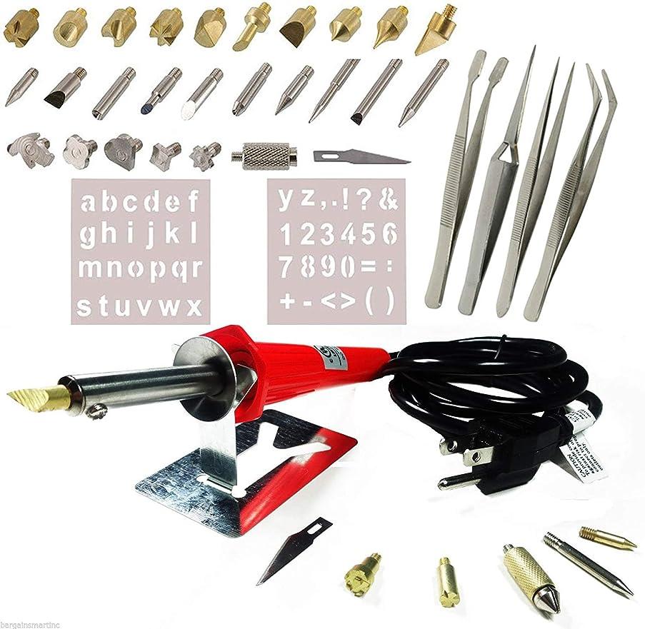 40PCS Wood Burning Pen Set Wood Burning Soldering Chiseled Tips Hot Blade Tweezer