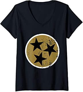 Womens TriStar TN Flag Distressed Black & Gold Tennessee State Flag V-Neck T-Shirt