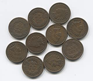 Indian Head Pennies 10 Antique Cent Collection Lot w/2 pre-1900's Nice Old Set