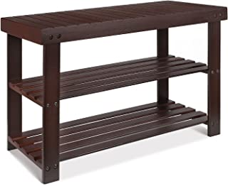 HOMFA Bamboo Shoe Rack Bench 3-Tier, Shoe Organizer, Storage Shelf, Good Load Bearing, Ideal for Entryway Hallway Living Room and Corridor Retro color