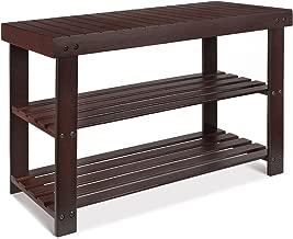 HOMFA Bamboo Shoe Rack Bench 3-Tier, Shoe Organizer, Storage Shelf, Good Load Bearing, Ideal for Entryway Hallway Living Room and Corridor Retro color