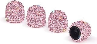 SAVORI Valve Stem Caps, 4 Pack Handmade Crystal Rhinestone Universal Car Tire Valve Caps Chrome,Attractive Dustproof Bling Car Accessories - Pink
