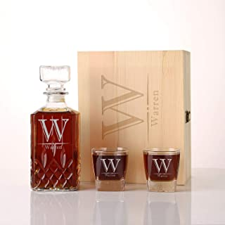 Personalized Groomsmen Gift, Unique Wedding Gifts, Engraved Whiskey Decanter Gift Set