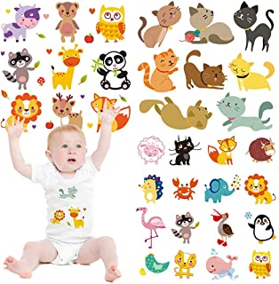 Baby Cute Cartoon Animal Iron on Patches 3 Sets Birthday Lovely Transfers Decorations DIY Iron on Stickers for Kid's Clothing Girls T-Shirt Bag Cap Garment Accessories Assorted Patterns Eco-Friendly