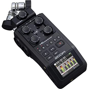 Zoom H6 All Black (2020 Version) 6-Track Portable Recorder, Stereo Microphones, 4 XLR/TRS Inputs, SD Card, USB Audio Interface, Battery Powered