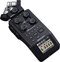 Zoom H6 All Black (2020 Version) 6-Track Portable Recorder, Stereo Microphones, 4 XLR/TRS Inputs, SD Card, USB Audio Inter...