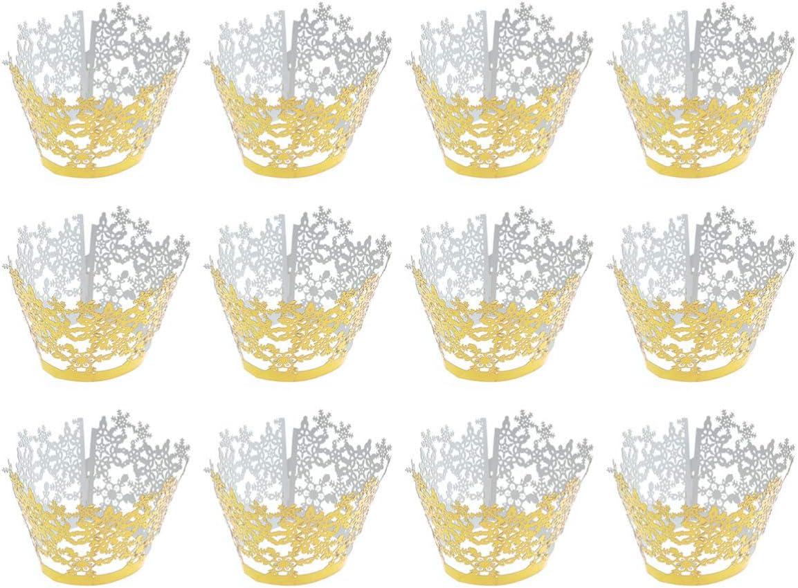 NUOBESTY 50Pcs Christmas Cupcake Liners Xmas Party Glitter Mini ...