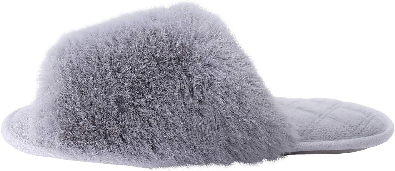 Dechic Women's Fuzzy Faux Fur Slippers Memory Rare Cozy Ope Foam Our shop most popular foam