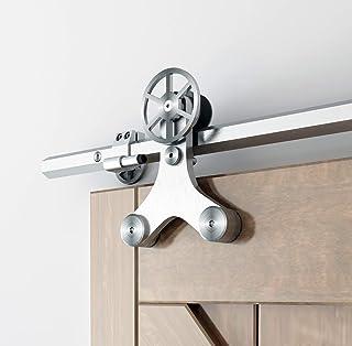 DIYHD TYL6000 6FT Solid Hexagon Track Rotatable Decoration Spoke Wheel Sliding Barn Hardware for Wood Glass Door, Kit, Brushed