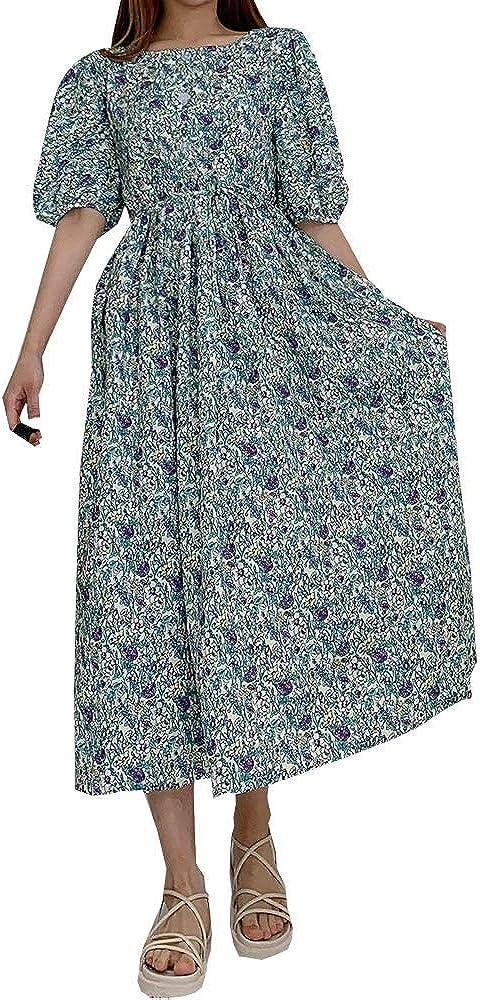 Floral Long Dress Green Ranking TOP6 Bargain