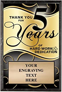 Crown Awards Corporate Plaques - 5 x 7 Thank You for 5 Years Recognition Trophy Plaque Award Prime