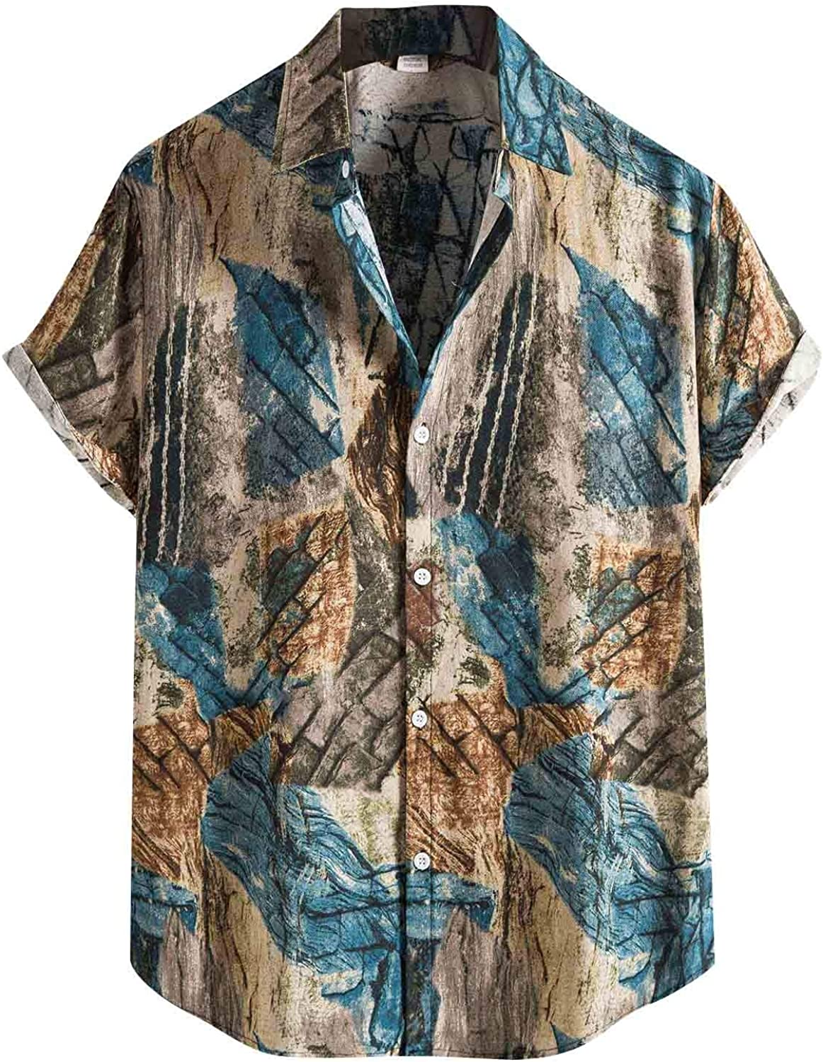 Appoi Funky Casual Hawaiian Shirt for Men Regular Fit Short Sleeve Colors Print Summer Beach Shirts for Holiday