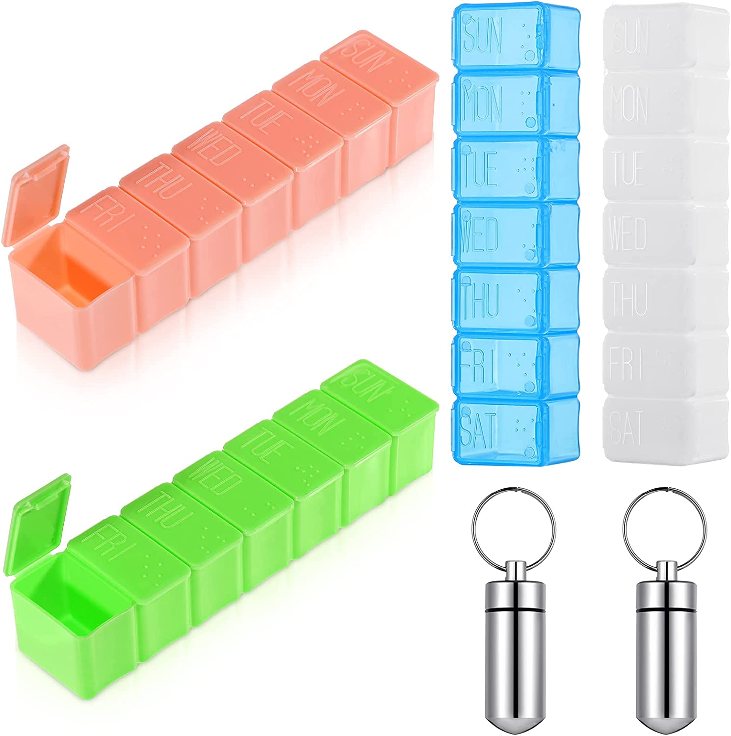 4 Pieces Weekly Finally resale start Pill Organizer with Large Denver Mall Extra Days P Braille 7