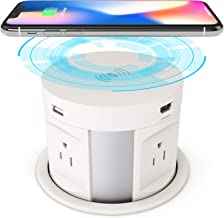 Automatic Pop Up Socket, Desk Retractable Recessed Power Strip, Pop Up Power Outlet with Wireless Charger, 4US Plug, 2USB ...