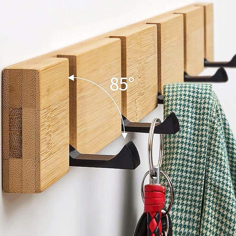 Wall Mounted Coat Rack Natural Wooden 5 Hook, Foldaway Cast Iron Metal Hooks,Wooden,30cm3hook