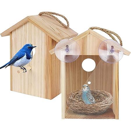 Utapossin Nichoir Oiseaux Exterieur, Maison D'Oiseau en Bois, Mangeoire Oiseaux Exterieur en Bois - Maison Oiseaux,Mangeoire à Oiseaux Suspendue à l'Extérieur, Niche Oiseaux Exterieur Bois