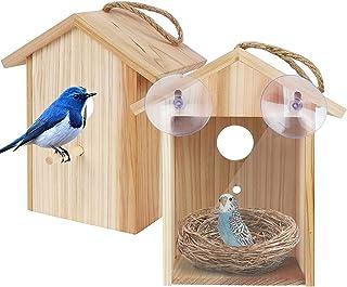 Utapossin Nichoir Oiseaux Exterieur, Maison D'Oiseau en Bois, Mangeoire Oiseaux Exterieur en Bois - Maison Oiseaux,Mangeoi...
