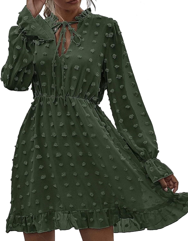 Women's Dress Long Sleeve Swiss Dot Print Boho Dress A-line Plain Short Dress