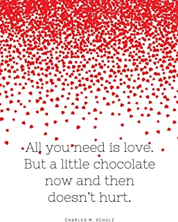 All you need is love. But a little chocolate now and then doesn't hurt. Charles M. Schulz: lined with decorations Notebook...