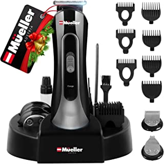 Mueller UltraGroom Hair Clippers for Men & Women Grooming Kit, 13 pc with Charging Dock, All-In-One Trimmer for Hair Beard...