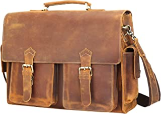 Polare 17'' Mens Full Grain Leather Laptop Briefcase Business Messenger Bag Satchel With YKK Metal Zippers