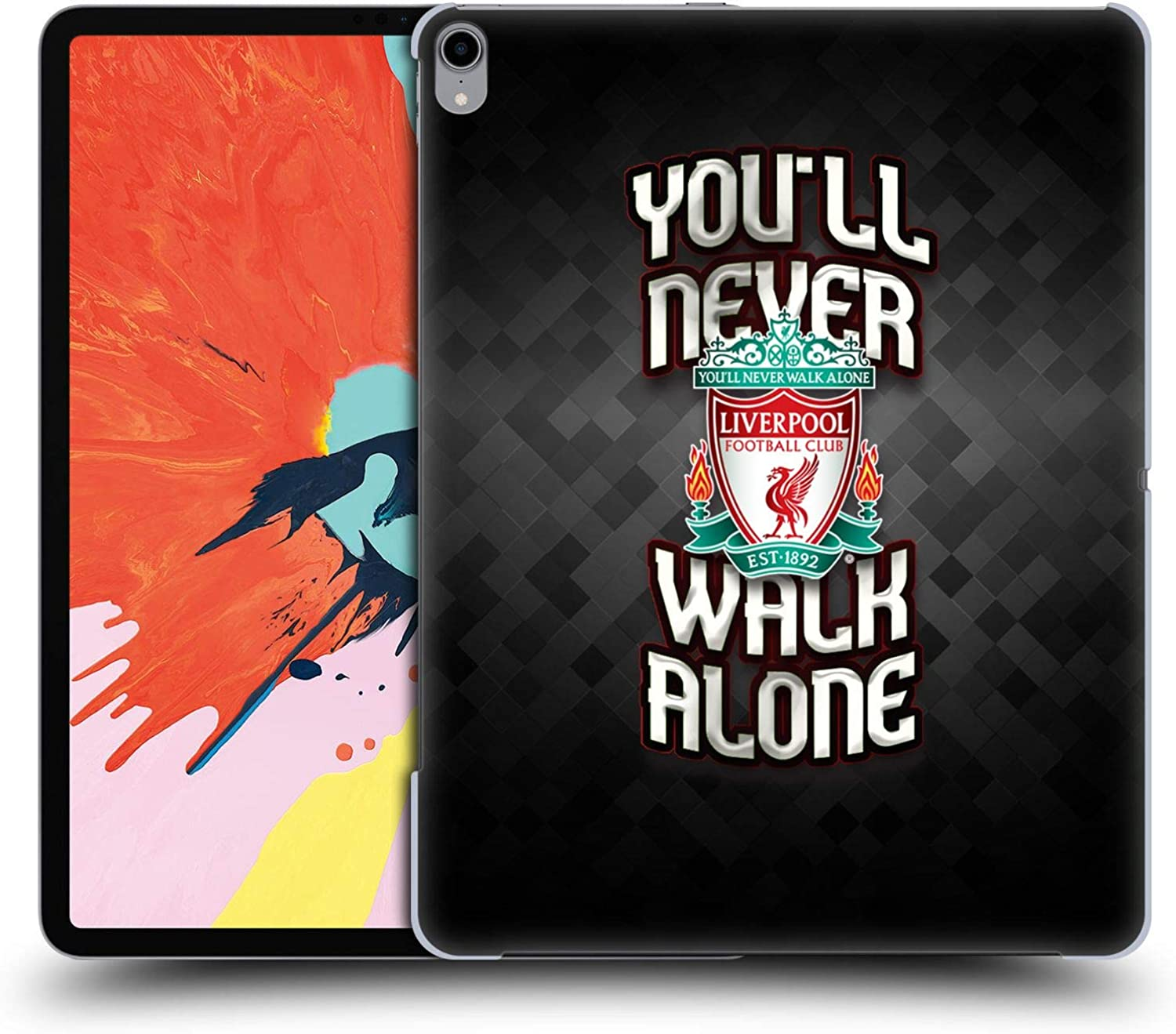 Official Liverpool Football Club Grey Pixel Crest You'll Never Walk Alone Hard Back Case Compatible for iPad Pro 12.9 (2018)