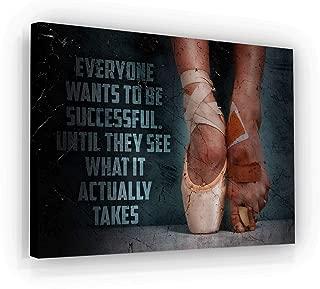 Ballet Price of Success Motivational Wall Art Canvas Print, Office Decor, Inspiring Framed Prints, Inspirational Entrepreneur Quotes for Wall Art Decoration (18