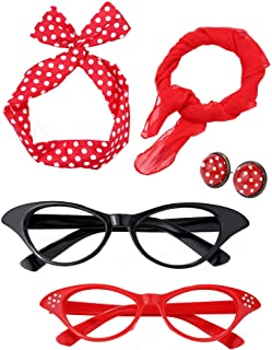Satinior Women 50's Costume Accessories Set Girl Scarf Headband Earrings Cat Eye Glasses for Party