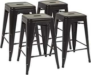 """FDW Metal Bar Stools Set of 4 Counter Height Barstool Stackable Barstools 24 Inch 30 Inch Indoor Outdoor Patio Bar Stool Home Kitchen Dining Stool Backless Bar Chair (Black, 24"""")"""