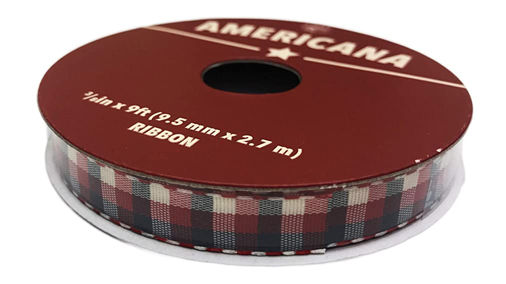 Americana Patriotic Red White & Blue Plaid Ribbon 3/8'' x 9'