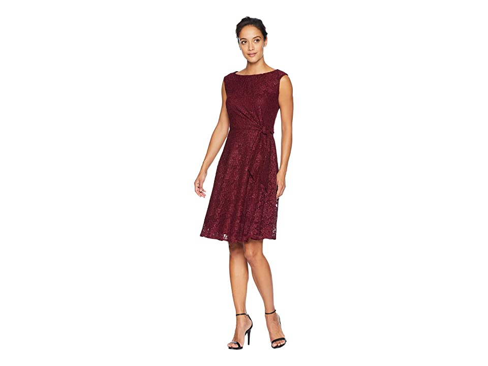 Tahari by ASL Stretch Lace Side Tie Fit Flare Dress (Aubergine) Women's Dress, Purple