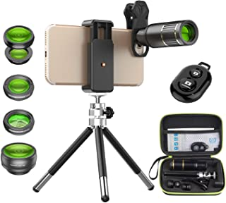 Apexel Cell Phone Camera Lens Kit -Remote Shutter+ Phone Tripod+ 6 in 1 Phone Lens -Metal 16X Telephoto Zoom Lens/Wide Ang...
