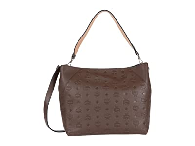 MCM Klara Monogrammed Leather Medium Hobo (Chestnut) Hobo Handbags