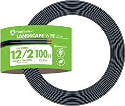Southwire 55213443 100-Feet 12-Gauge 2 Conductor 12/2 Low-Voltage Underground Direct Burial Landscape Lighting Cable, Black