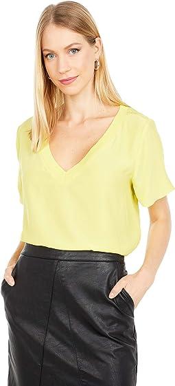 Silk T-Shirt w/ Knit Trim