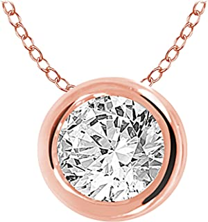 EternalDia 10k Gold Round Diamond Solitaire Pendant Necklace Bezel Set (0.33cttw, IJ, I1-I2) 18""